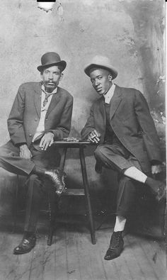 """African-American men, from the turn of the 20th century. The shoes on the man on the right caught my eye, fantastic details."""