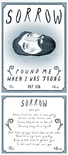 Gin bottle label based on 'Sorrow' by The National.