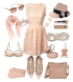 """""""nude II"""" by queenie-de-angelis ❤ liked on Polyvore featuring Fendi, Valentino, Ray-Ban, Marc Jacobs, Cloverpost, Chan Luu, Ted Baker, Brunello Cucinelli, Anne Sisteron and tarte"""