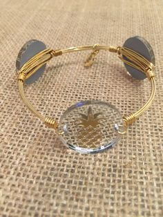 Bourbon and Boweties Moon and Lola Gold Pineapple on Mirrored Silver Standard Bangle