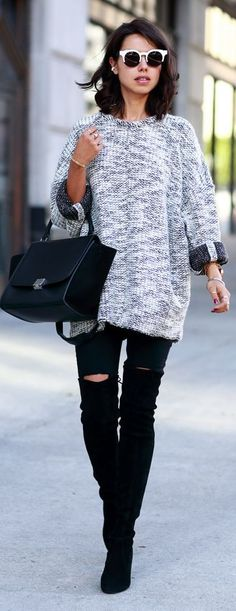 Grey Oversize Knitted Sweater by Vivaluxury