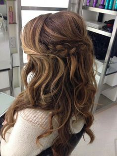 Balayage with wedding trial hair, updo, formal hair, up wed. - Wedding Hair With Veil - Wedding Hairstyles Half Up Wedding Hair, Wedding Hairstyles Half Up Half Down, Wedding Hairstyles With Veil, Formal Hairstyles, Hair Half Updo, Bridesmaid Hair Half Up Braid, Stylish Hairstyles, Half Braided Hair, Half Up Curled Hair