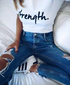 T-shirt: tumblr white quote on it jeans denim blue jeans ripped jeans sneakers white sneakers adidas