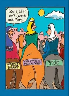 Funny Bible Joke Cartoon Picture -  Joseph and Mary camel - Well, if it isn't Joseph and Mary... our son is God