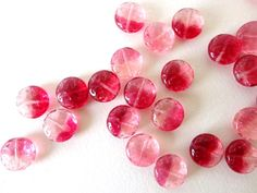 Czech Glass Beads Pink Lentil Circle Coin Beads 14mm 10 by Snoochy, £2.70