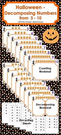 These Halloween workmats and recording sheets will provided students with lots of practice decomposing numbers between 3 and 10.  Reduced in Price to $1.50