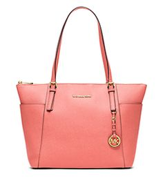 Fan of this color for Spring/Summer. Jet Set Large Top-Zip Saffiano Leather Tote by Michael Kors