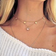 """"""":: Customer Georgina pairing our Matte Gold Disk Choker (ON SALE!) with our Gold Drop Choker in Clear Quartz (also available in Ruby) / Grab this look…"""""""