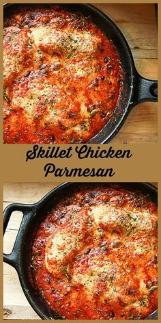 Lightened up Chicken Parmesan is a delicious one pan, easy weeknight dinner and a yummy way to use chicken breasts. Lightened up Chicken Parmesan is a delicious one pan, easy weeknight dinner and a yummy way to use chicken breasts. Cast Iron Skillet Cooking, Iron Skillet Recipes, Cast Iron Recipes, Skillet Dinners, Chicken Cast Iron Skillet, Cast Iron Chicken Recipes, Chicken Skillet Recipes, Chicken Casserole, Skillet Chicken Parmesan