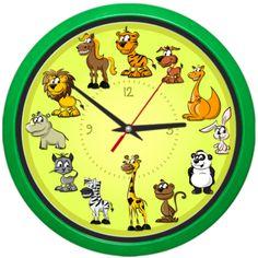 Ceas de perete cu animalute simpatice: tigru, leu, catel, pisica, rinocer, zebra, iepure, maimutica, panda, cangur, cal si girafa. Clock, Retro, Wall, Watch, Clocks, Walls, Retro Illustration
