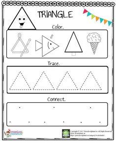 Triangle Worksheet For Preschool – Preschoolplanet Shape Worksheets For Preschool, Shape Tracing Worksheets, Shapes Worksheet Kindergarten, Geometry Worksheets, Kindergarten Learning, Preschool Learning, Preschool Activities, Counting Worksheet, Preschool Curriculum