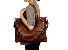 Archive Bag in Chestnut Brown Leather - Made to Order. $273.00, via Etsy.