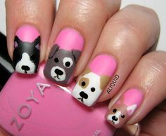 Pink Doggy Nails Nails Pink Nails Nail Art Nail Ideas Nail Art Nail Pictures Doggy Nails Source by b Nail Art Simple, Simple Nail Art Designs, Cute Nail Art, Cute Nails, Pretty Nails, Nail Designs For Kids, Dog Nail Art, Animal Nail Art, Dog Nails