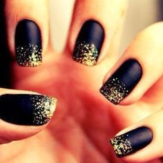 matte black and gold shimmer tips