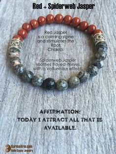 AFFIRMATION: Today I attract all the good that is available.   KEEP CALM: Spiderweb + Red Jasper Yoga Mala Bracelet