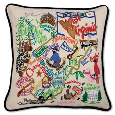 From Harpers Ferry to Charleston, Mountaineers are always free! This original design celebrates the State of West Virginia! This 20x20 pillow is entirely HAND embroidered on light tea-colored 100% org