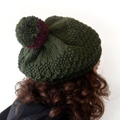 FREE SHIPPINGHand Knitted Women Hat in Green with by Need4KnitShop