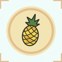 Pineapple color icon. Vector