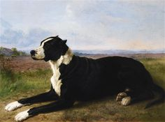 Artwork by Rosa Bonheur, PORTRAIT OF A MASTIFF-LABRADOR IN A LANDSCAPE, Made of Oil on canvas