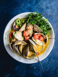 Thai green curry clams recipe.