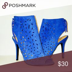 Bootie heel Blue suede like heel with tie up. JustFab Shoes Ankle Boots & Booties