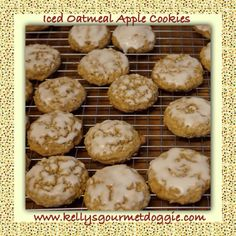 Iced Oatmeal Apple Cookies by Kelly's Gourmet Doggie www.kellysgourmetdoggie.com Gourmet Dog Treats, Doggie Treats, Apple Cookies, Oatmeal Cookies, Dog Bakery, Apple Oatmeal, Natural Dog Treats, Pet Stuff, Treat Yourself