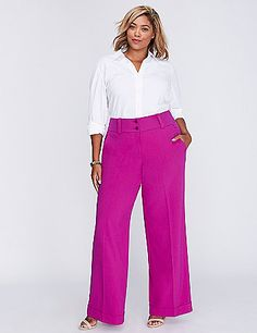 Who needs a power suit when you have this wide-leg power pant? Work any room in this standout silhouette. Slash front pockets. Welted back pockets. Triple button & zip fly closure. Belt loops. <br />                                                                      <br />                                                                                                                                                      <strong>FIT:</strong> Ashley (For hourglass shapes that are very curvy…