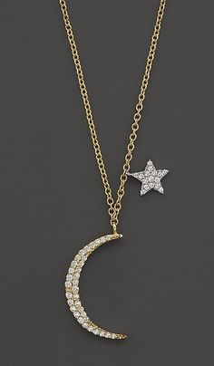 Meira T Diamond Moon Necklace in 14K Yellow Gold
