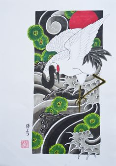 Always love crane designs....horimatsu, irezumi, japanese tattoo, japansk tatuering-13