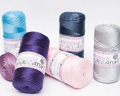 Etsy :: Your place to buy and sell all things handmade Crochet Cord, Thread Crochet, Cordon Crochet, Cordon Macramé, Bucket Bag, Cotton Cord, Macrame Supplies, Ribbon Yarn, Round Bag