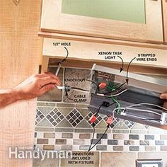 how to install under cabinet lighting in your kitchen electrical rh pinterest com Kitchen Pantry Cupboard Kitchen Cupboards Designs