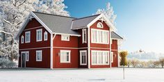 Red Houses, Scandinavian Home, Home Fashion, Country Style, My House, Floor Plans, Farmhouse, Cottage, Cabin