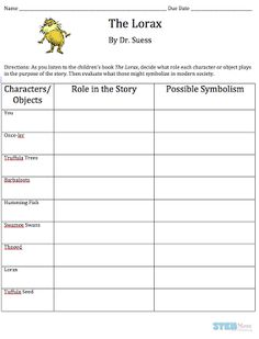 """The Lorax"" by Dr. Seuss: Free Student Worksheet: Science Literacy Lesson: STEMmom.org"