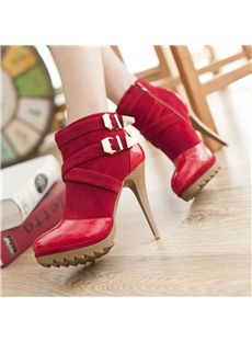 2014 Real Freeshipping Pu Botas New Fashion High Heels Solid Zip Buckle Cow Muscle Spring Autumn Women Martin Boots Stilettos, Stiletto Heels, Cheap Boots, Red Boots, Women's Boots, Buckle Ankle Boots, Red High Heels, Martin Boots, Prom Shoes