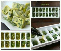 Congele no azeite as ervas frescas! Sempre que precisar, voce vai tê-las!
