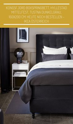 #einrichtungsideen schlafzimmer graues bett KONGSFJORD Boxspringbett, Hyllestad mittelfest, Tustna dunkelgrau, 160x200 cm. Heute noch bestellen - IKEA Österreich