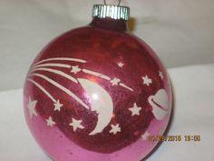 Vintage Christmas Shiny Brite PINK Moon andd Stars Ornament