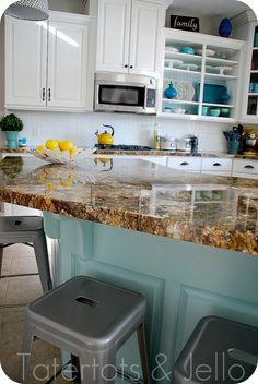 I love this granite.  I wish I knew what it was!  Open shelving + blue + painted backdrop = love. With chevron yellow curtains ermagerd, dream kitchen