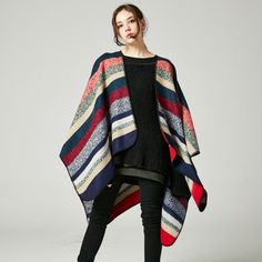 03f96e8a25914 Susi&Rita Women Cape Poncho Knitting Rainbow Print Ladies Scarves Cashmere  2017 Shawls and Wraps Winter Pashminas Foulard Mujer