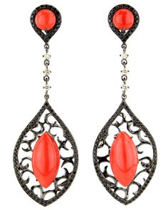 Wendy Yue Coral and Black Diamond Drop Earrings
