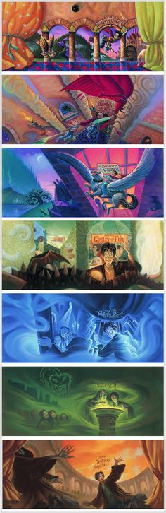 Harry Potter book covers by Mary GrandPré, original American editions