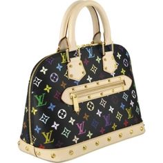 """Louis Vuitton Alma Monogram Multicolore M92646 Handbags:      - Monogram Multicolore canvas with natural cowhide trim - Monogram Multicolore is a creation of Takashi Murakami for Louis Vuitton - Gold metallic hardware and studs - Full double-zip closure - Alcantara textile lining with an inside patch pocket     -12.5"""" x 9.5"""" x 6.5"""""""