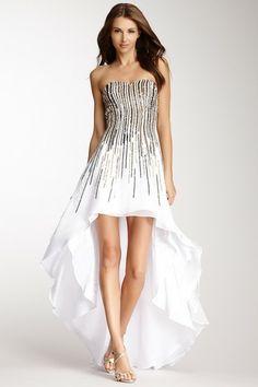Strapless Hi-Lo Sequin Dress