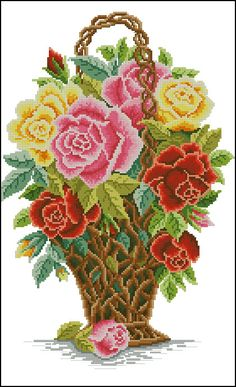55 Flower Designs: For Cross Stitch, Canvaswork and Crewel Embroidery - Embroidery Design Guide Cross Stitch Bird, Beaded Cross Stitch, Cross Stitch Flowers, Cross Stitch Designs, Cross Stitching, Cross Stitch Patterns, Embroidery Designs, Embroidery Patterns Free, Crewel Embroidery