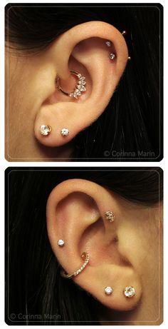 Daith | Lobe | Conch | Helix | High Lobe | Forward Helix piercing & jewlery-- BVLA, Etsy, Neometal. Piercings done at 4Forty4 Tattoo-Tucson, AZ.