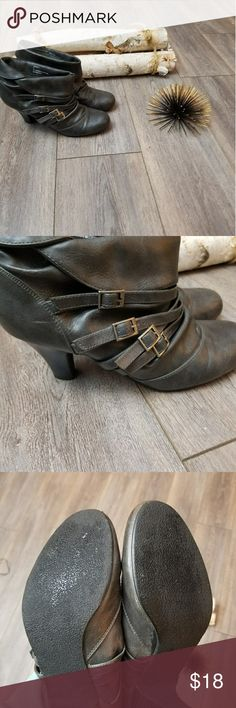 Sale! Gray buckle ankle boots Very cute booties! Cute gray color and buckle decor! Slightly worn. But still in good condition! Shoes Ankle Boots & Booties