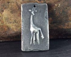 Giraffe Pendant, Animal Pendant, Handmade Jewelry Making Supplies, Pewter Pendant, Artisan Jewelry Pendant, Necklace Pendant - No. 168PD