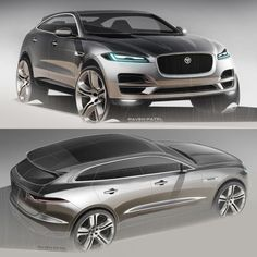 2015 IAA - Jaguar F-Pace production exterior design - Sketches by Paven Patel.