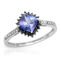 Brand New Ring With 1.09ctw Genuine  Diamonds and Tanzanite Well Made in White Gold- Size 7 We Can Resize from 5.5 to 8.5 - Certificate Available.