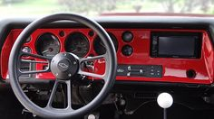 70 chevelle red and black painted inlay custom dash auto meter vhx gauges overlay fiberglass gelcoat double din radio navigation